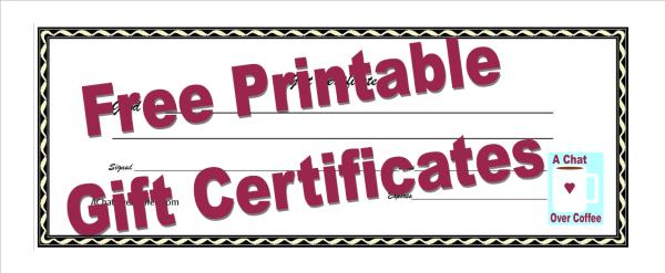 printable custom gift certificates