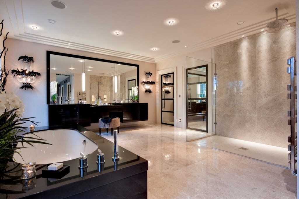 The master bathroom has a strong vintage Hollywood influence albeit