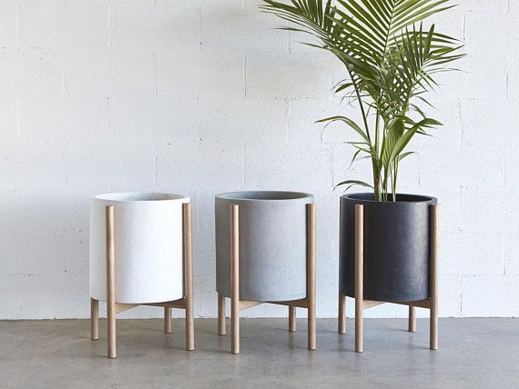 Large Pot Planter With Timber Legs Christo Series Concrete Etsy Plant Decor Indoor Planter Pots Indoor Planters