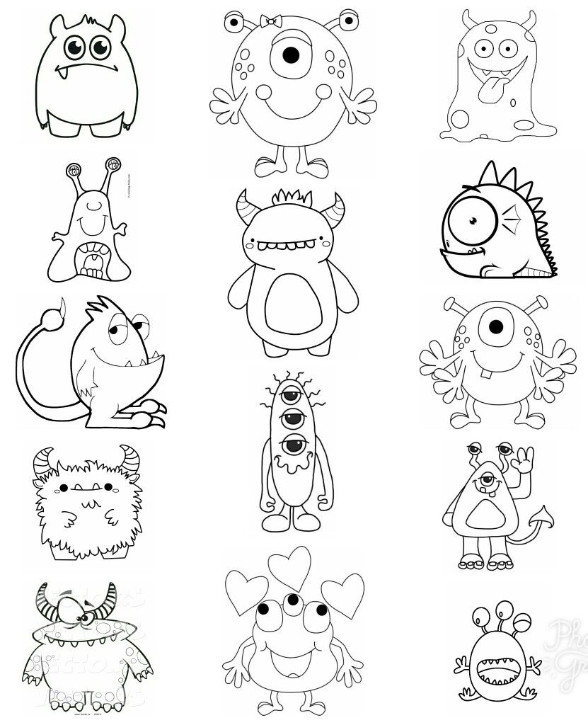 Pin By David Garza On Sketch Inspiration Characters And Little Monsters Monster Coloring Pages Monster Truck Coloring Pages Cute Monsters Drawings