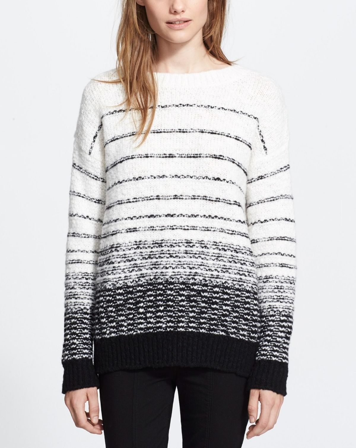 Vince Textured Stripe Wool Blend Sweater Sweaters Clothes