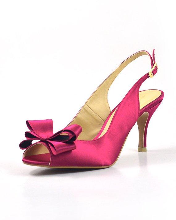 Fuchsia Wedding Shoes Dark Pink Slingback Pump Deep Pink Satin