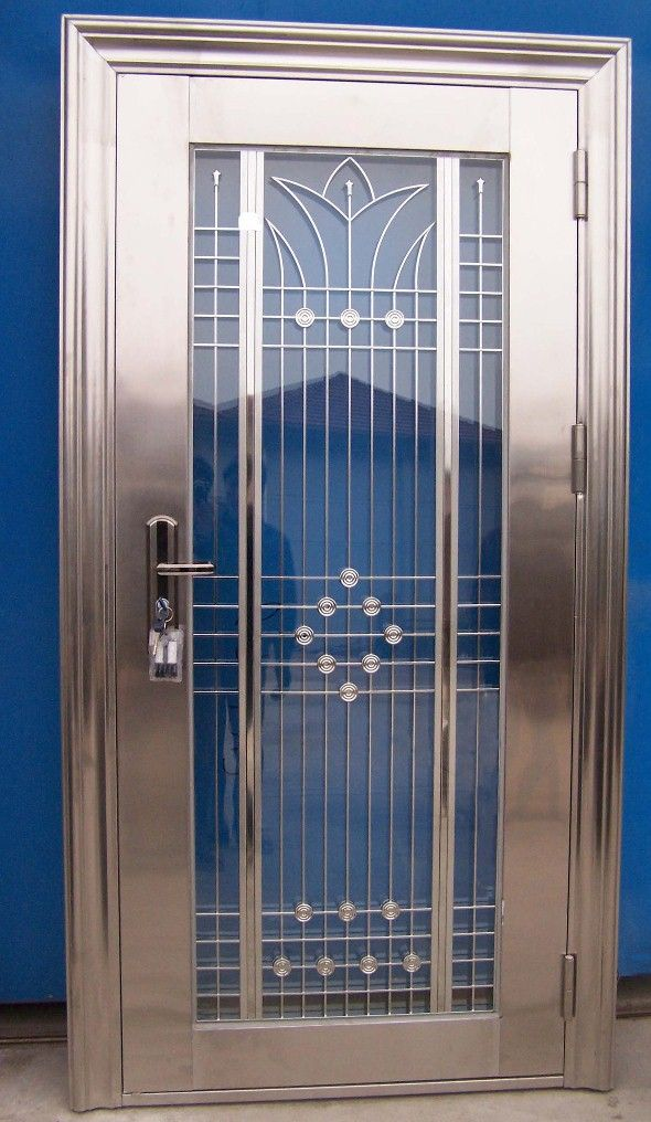Shut the front door art deco door in polished nickel for Residential front doors with glass