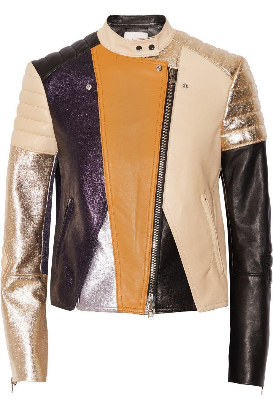 Colorblock leather biker jacket Blue 3.1 Phillip Lim