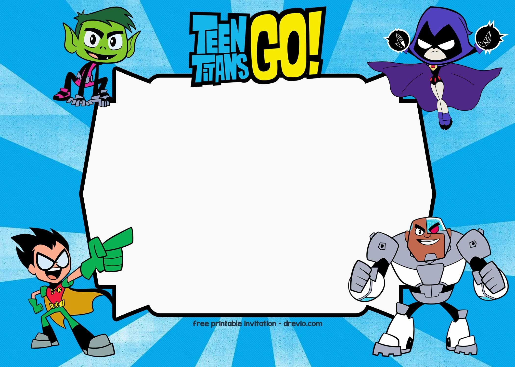 FREE Printable Teen Titans Go Birthday Invitation Templates | Free ...