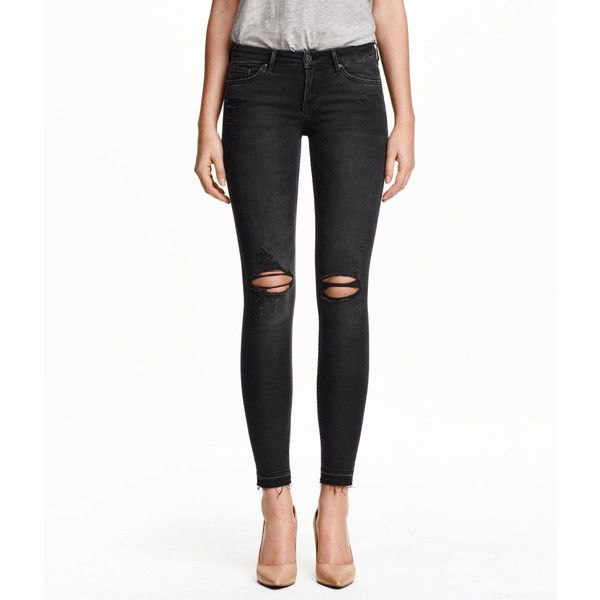 0ad9393fab12 H&M Super Skinny Low Ripped Jeans (51,250 KRW) ❤ liked on Polyvore ...
