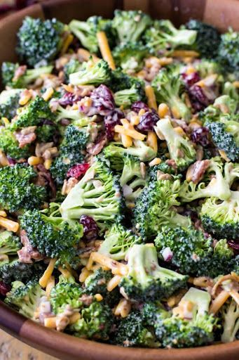 Try Broccoli Salad***! You'll just need 5-6 cups broccoli florets 1 lb, this was about 2 1/2 heads of broccoli for me (450g), 1 cup sharp cheddar cheese...