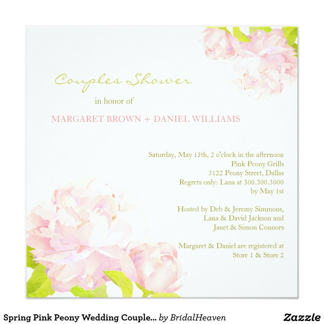Spring Pink Peony Wedding Couples Shower | Watercolor Wedding ...