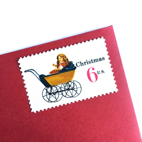 10 Unused Vintage Christmas Doll Stamps Holiday Baby Carriage 6 Cent Dolly Sta