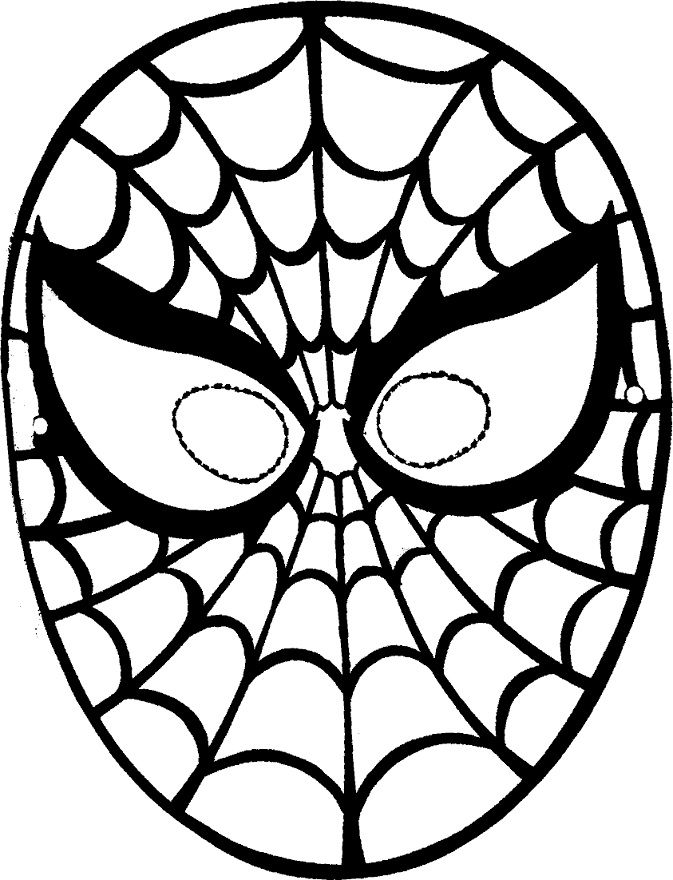 Coloring Pages of Disney Character Spiderman Mask (free)