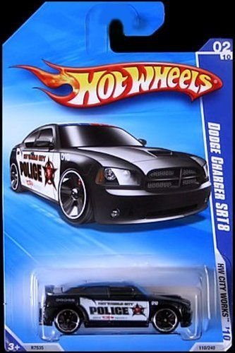 2010 HOT WHEELS CITY WORKS 02/10 BLACK DODGE CHARGER SRT8