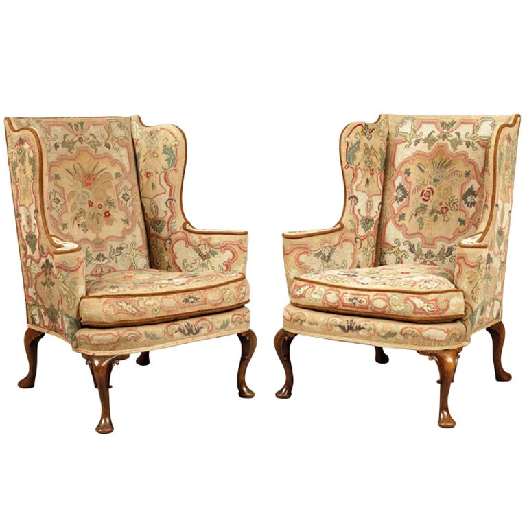 1stdibs Com A Pair Of Antique Wing Backed Armchairs In The Mid