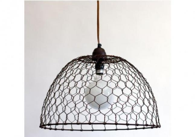 Chicken Wire Basket Pendant Lamp | Chicken wire, Wire basket and ...
