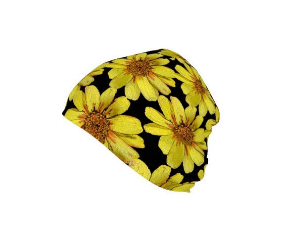 Yellow Floral Hat Beanie Flower Print Women by WhimZingers on Etsy