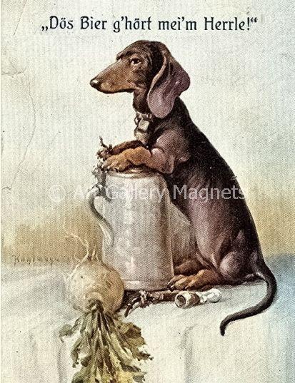Dachshund Art My Master S Beer German Dog Guards Stein Postcard