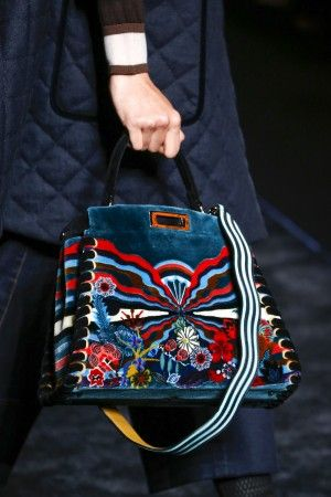 a4e0c582a000 Fendi Blue Multicolor Printed Shearling Peekaboo Bag - Fall 2016 ...