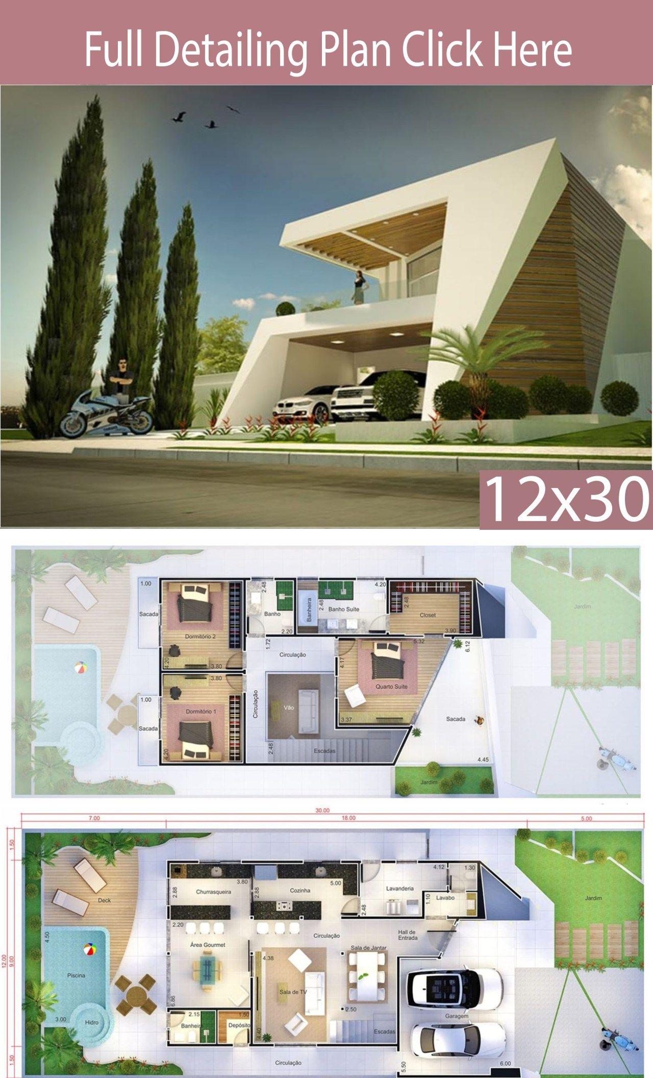 Modern Home Design 12x30 Meters 3 Bedrooms Home Ideas Modern House Design House Design Modern House