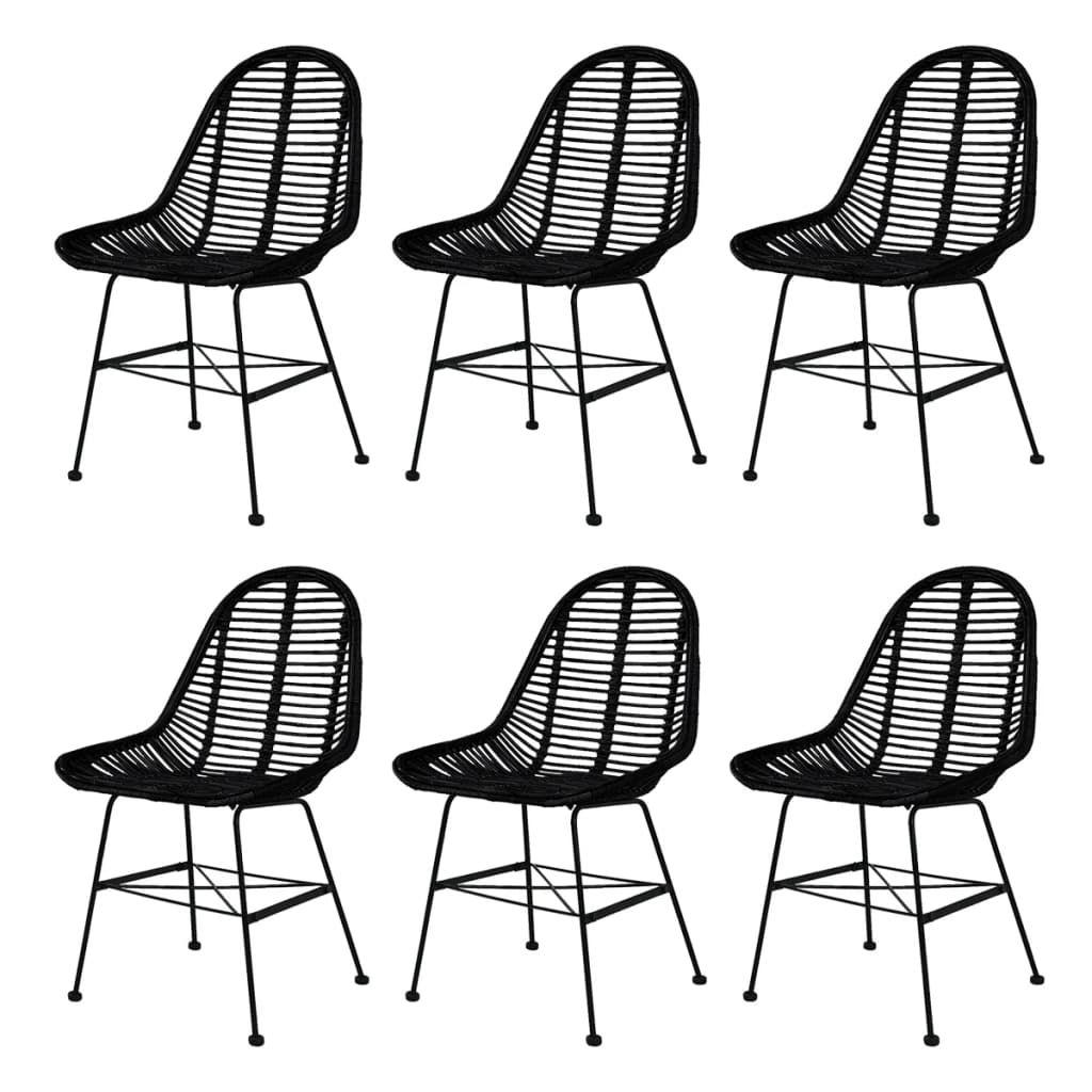 ZUN Dining Chairs 6 pcs Black Natural Rattan 275499