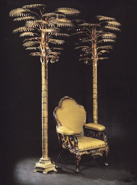 Golden Palms and great chair.