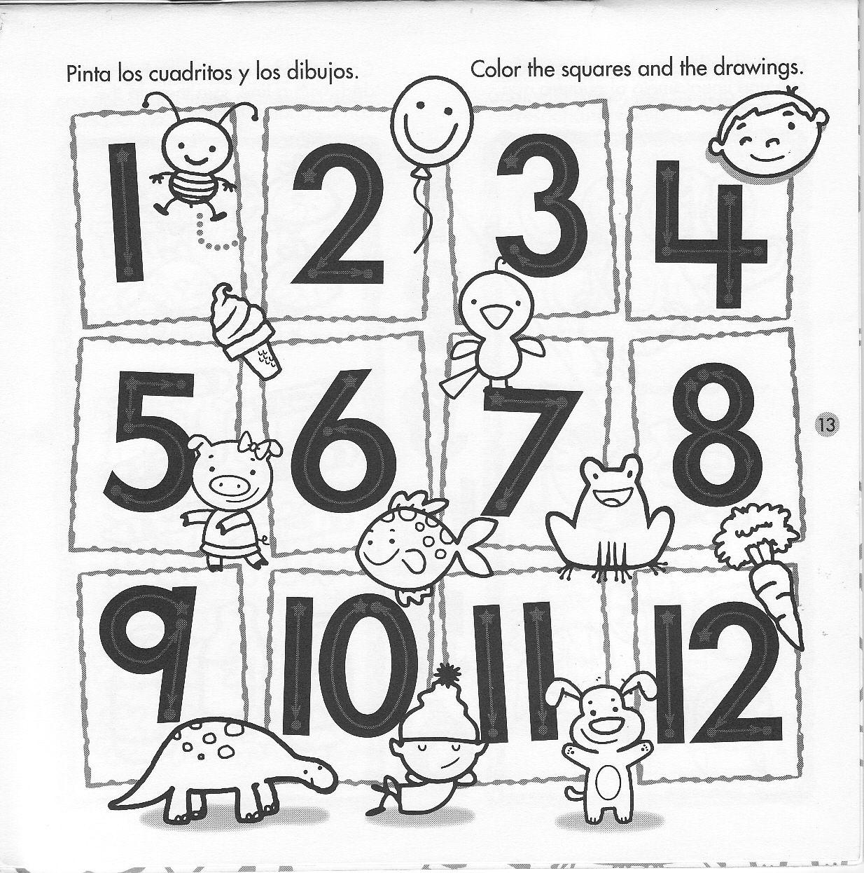 Del 1 Al 12 Fichas Numero Para Colorear Numeros Para Ninos