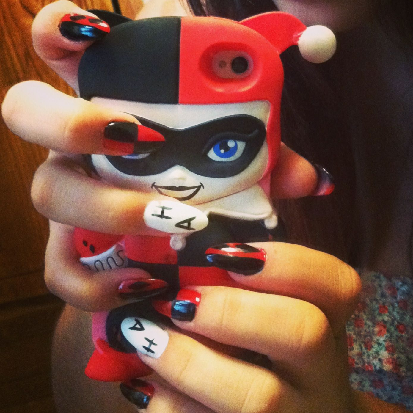 Harley Quinn stiletto nails | Nail art | Pinterest