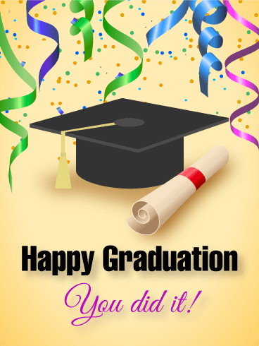 happy graduation card woot woot you did it and we want to shout it from the rooftops send a fantastic graduation card to a proud new alumnus