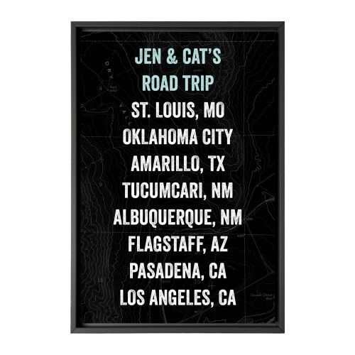 Our Travels Canvas Print, Black, Single piece, 24 x 36 inches, Black