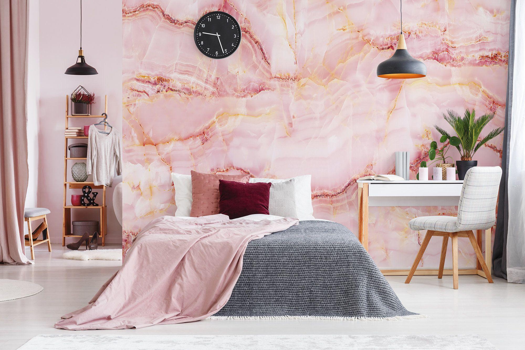 Pink quartz stone wallpaper, self adhesive, peel and stick