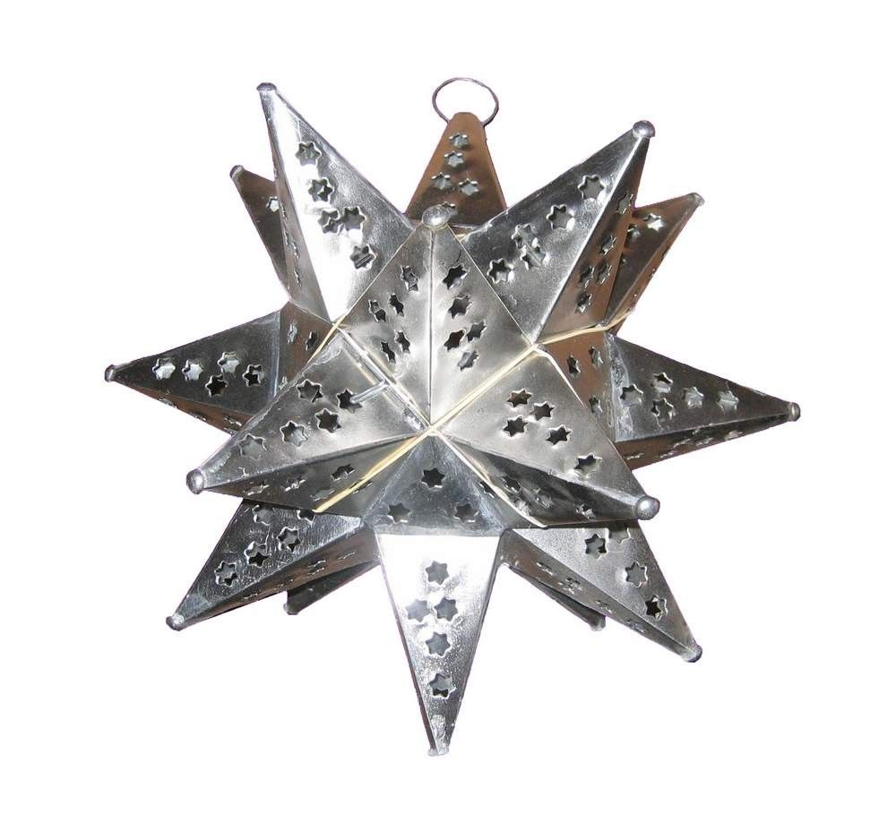 Mexican Tin Star Hanging Lights With Marble Punched