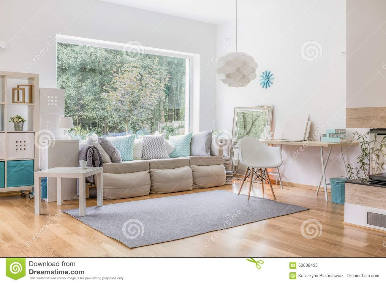 Großes Wohnzimmer Fenster Gestalten