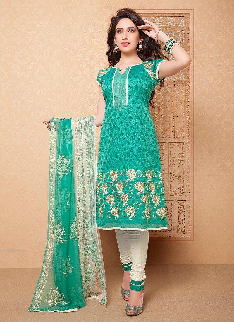 2bc039d34c Turquoise Chanderi Silk Churidar Suit   Indian clothes   Latest ...