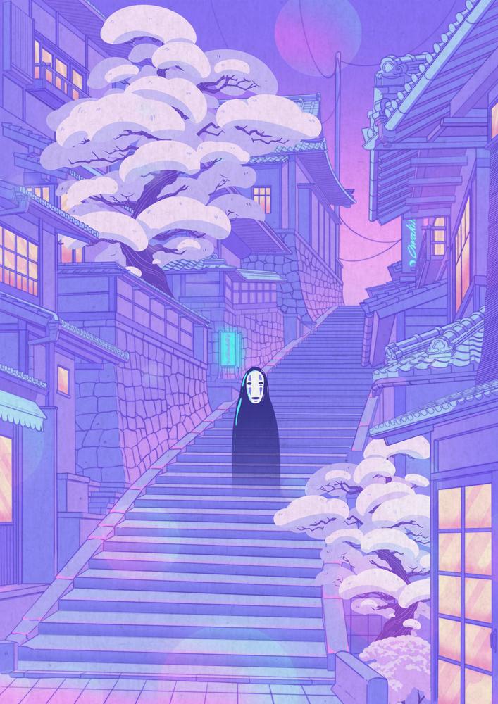 Kaonashi Laptop Ipad Skin By Elora Pautrat 13 Macbook Pro Air In 2020 Anime Scenery Wallpaper Scenery Wallpaper Anime Scenery