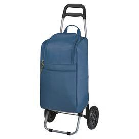 """Perfect for packing a picnic lunch or toting your farmers' market finds, this wheeled cooler features ample storage and a folding trolley.  Product: Cart coolerConstruction Material: Polyester and steel frameColor: NavyFeatures: On wheels Fully removable from the trolley  Two large storage pockets Large zippered opening  Insulated foil interior  Dimensions: 15.25"""" H x 13"""" W x 37.5"""" D"""