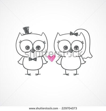 two cute owls, wedding invitation, vector hand drawn illustration