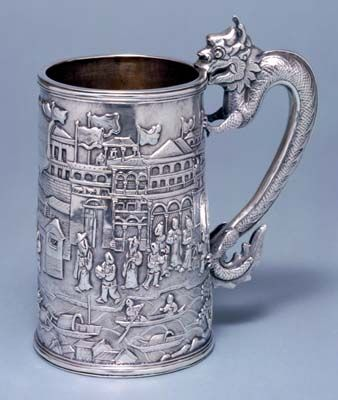 presentation chinese silver mug, showing the waterfront in Canton in about 1850