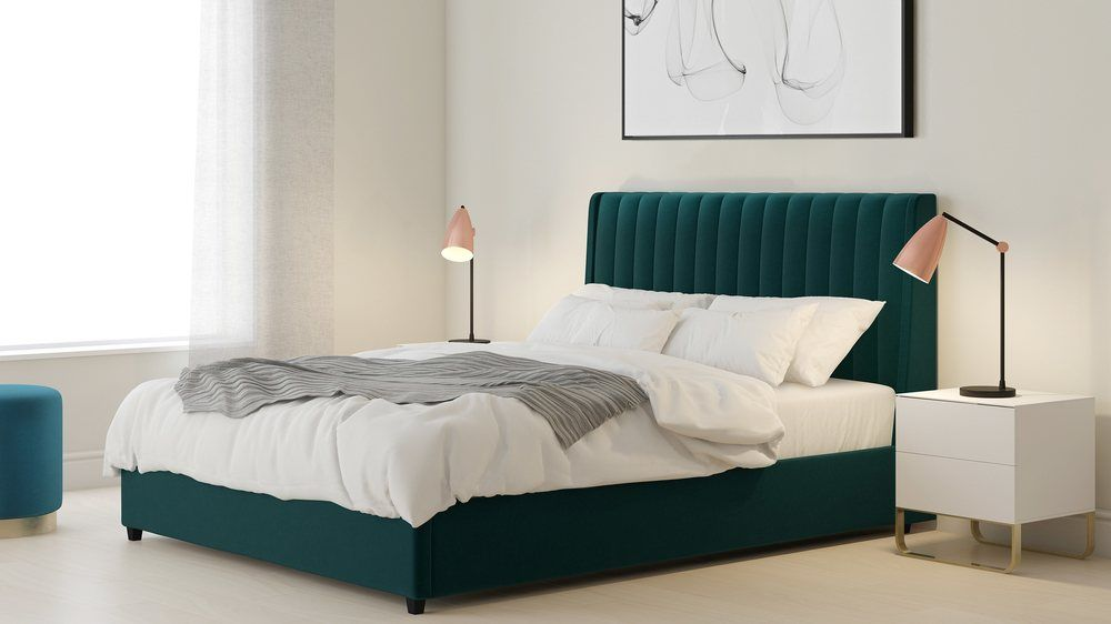 Magnificent Amalfi Peacock Velvet Super King Size Bed With Storage In Ibusinesslaw Wood Chair Design Ideas Ibusinesslaworg