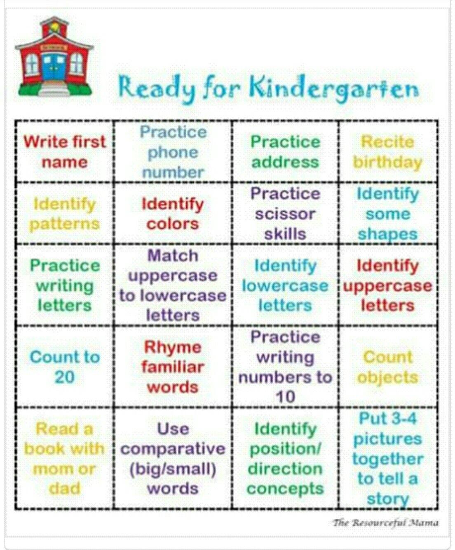 Kindergarten Readiness Checklist