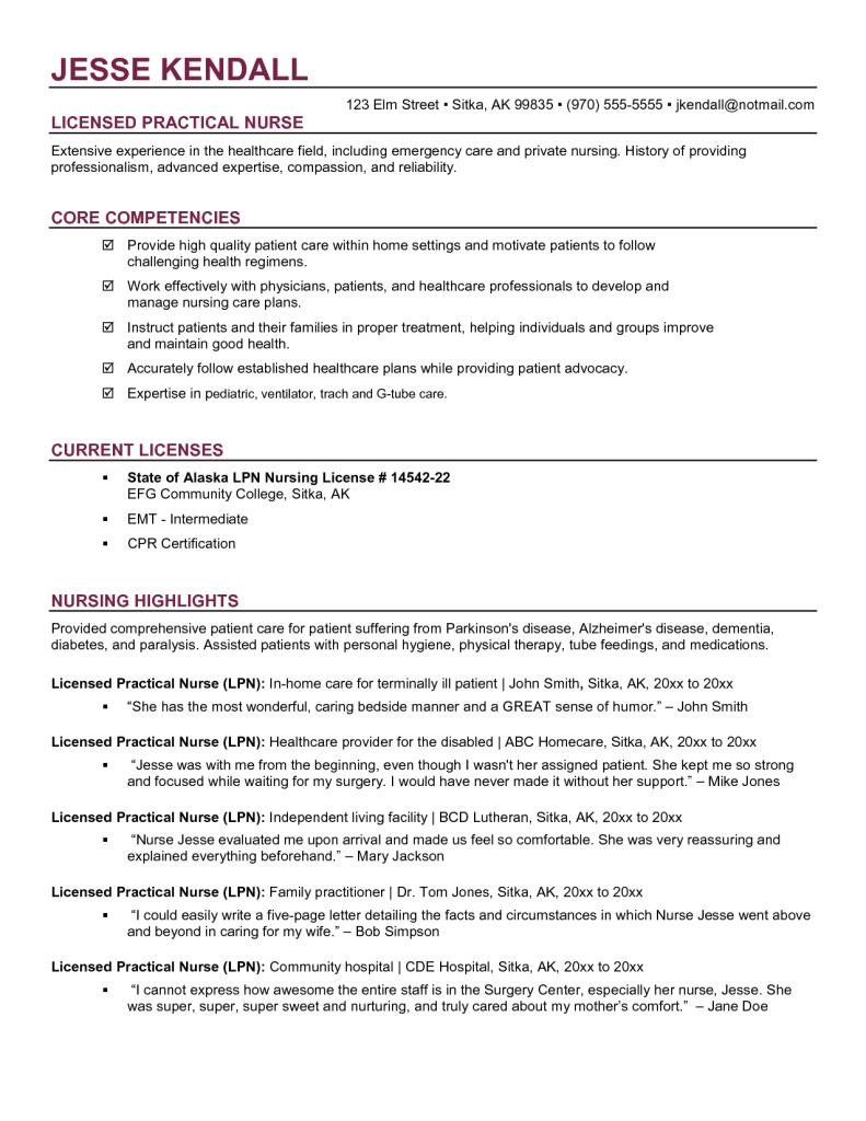 nursing resume bc
