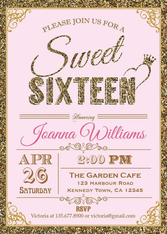 Glitter Sweet Sixteen Invitation Sequin by ThePaperWingCreation - office bridal shower invitation wording