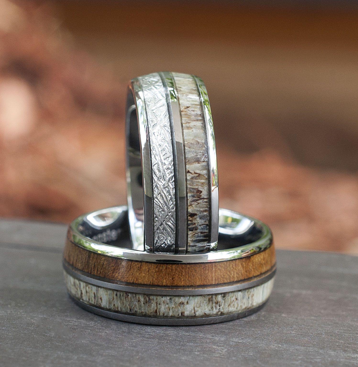 Deer Antler Wood Meteorite Wedding Bands Tungsten Ring Men