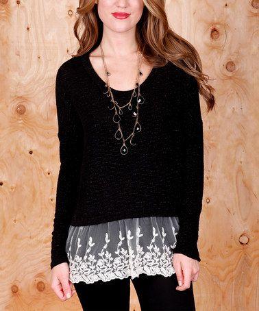 Black & Cream Lace-Detail Top #zulily #zulilyfinds