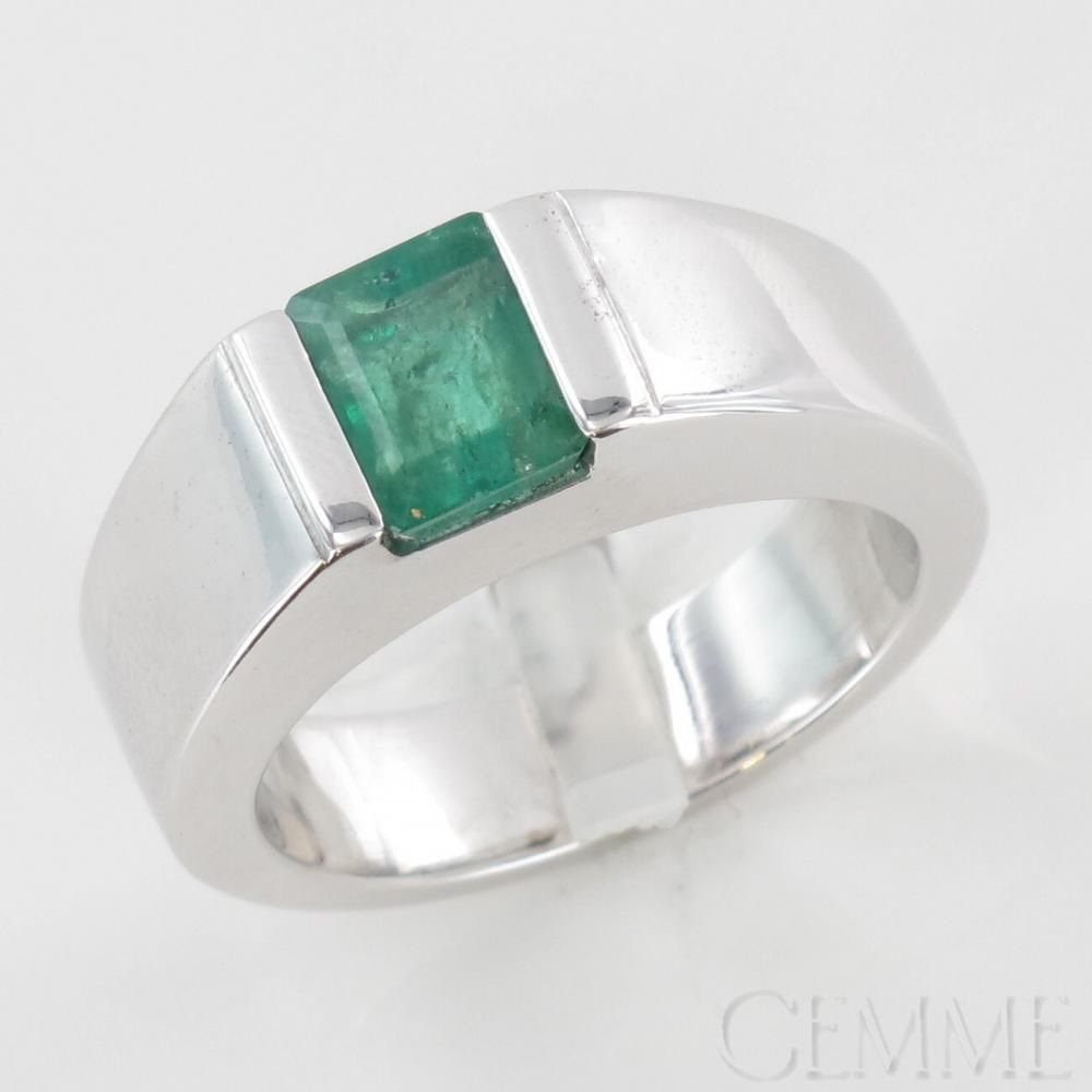 bague or blanc emeraude moderne