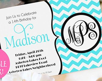 Monogram Party Invitation Printable Teen Birthday Invitation