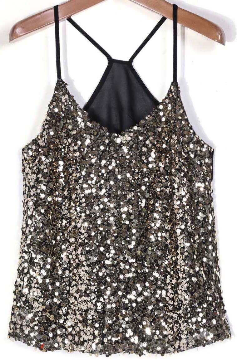 10d1dc992b9c6 Shop Black Spaghetti Strap Gold Sequined Vest online. Sheinside offers  Black Spaghetti Strap Gold Sequined Vest   more to fit your fashionable  needs.