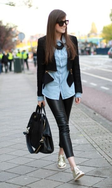 81e0dc9f64 Look: Oxford Dourado | Sapato Oxford | Leather pants outfit, Shirts ...