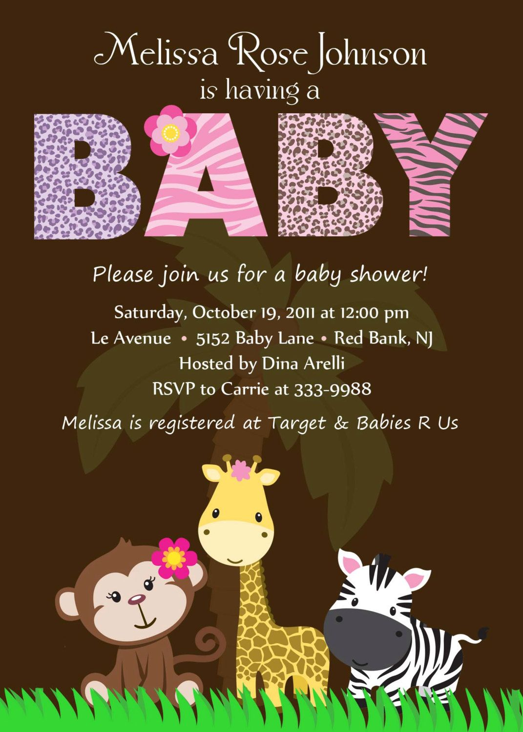Personalized animal safari jungle baby shower invitation digital personalized animal safari jungle baby shower invitation digital print 1299 via etsy filmwisefo Image collections