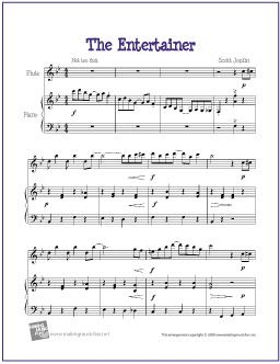 image about Free Printable Flute Sheet Music named The Entertainer (Joplin) Movie, Audio, Guides that I appreciate