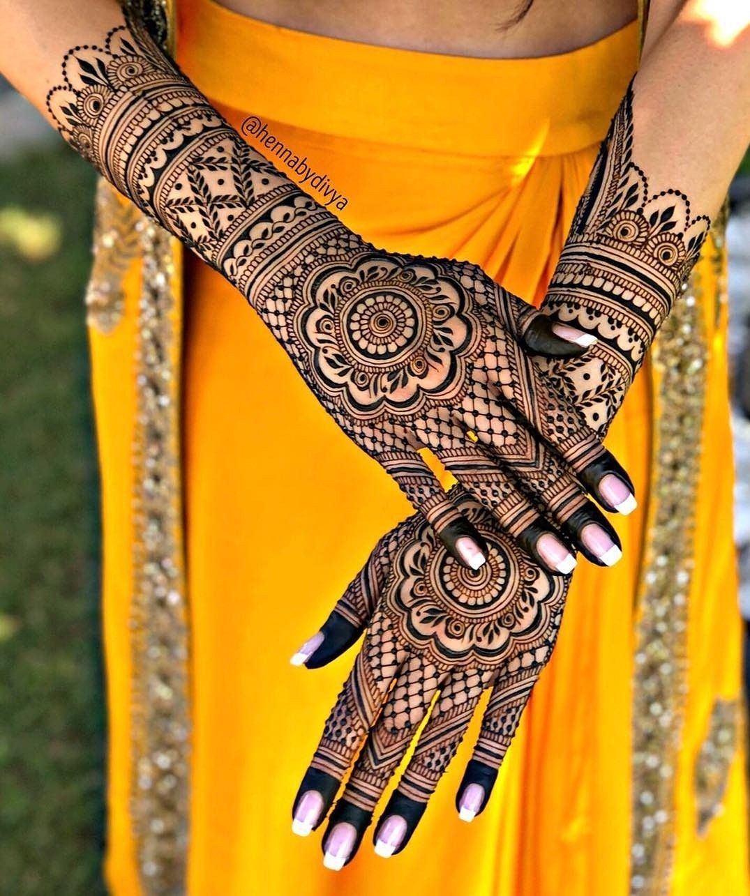 modern full hand mehndi design