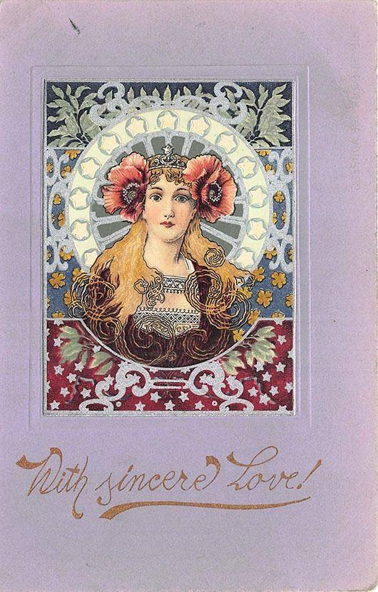 Art Nouveau Young Beautiful Woman Solid Colors Postcard | Post card