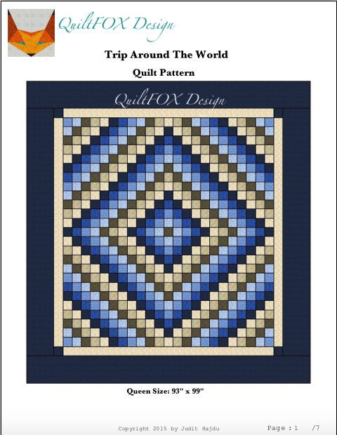 Quilt Pattern Trip Around The World Queen Size Printed Etsy Quilt Patterns Beginner Quilt Patterns Quilts